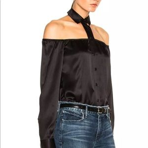 RtA Tops - ❌SOLD❌ RtA Silk Off Shoulder Button Up Blouse
